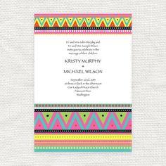 neon tribal wedding invitation  printable file   by idoityourself