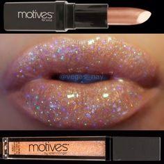 Glittered Lips By Vegas_nay in Motives Illuminating Lip Shine(Wild Honey) and Motives for La La Mineral Lipstick(Nice). #Lips #Shop #Product
