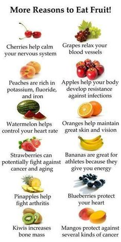 More reasons to eat FRUITS!!!!  don't know if any of this is true or not but it sure sounds good
