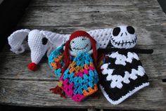Items similar to Nightmare before christmas doll/jack skellington crochet/fandom/ amigurumi/jack/ zero/ sally/ baby blanket/ doll/ on Etsy Crochet Lovey, Manta Crochet, Crochet Dolls, Crochet Crafts, Yarn Crafts, Crochet Projects, Halloween Crochet, Baby Halloween, Halloween Blanket