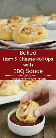 Baked Ham and Cheese Roll Ups with Barbecue Sauce -  A quick and easy dinner, game day snack or holiday party appetizer made with crescent rolls, deli ham and provolone cheese, plus BBQ sauce for extra flavor. from Meatloaf and Melodrama #appetizer #party #gameday