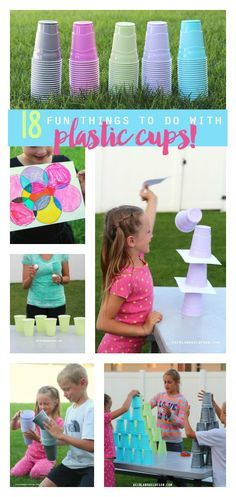 18 fun things to do with plastic cups--games, activities and crafts to keep the kids busy this summer! I love the pass the water game!