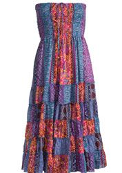 Hippy Skirt Bohemian Tiered Skirt Paisley Patchwork Skirt Dress Fair Trade Folio Gothic Hippy SK275