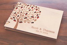 "Custom Wedding guest book wood rustic wedding guest book album bridal shower engagement anniversary- ""3D Love Tree""  UNIQUE GUESTBOOK"