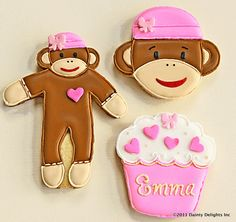 Sock Monkey Cookies.via Etsy.