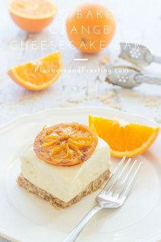 No Bake Orange Cheesecake Bars recipe topped with caramelized oranges... Recipe by http://FlavoursandFrosting.com