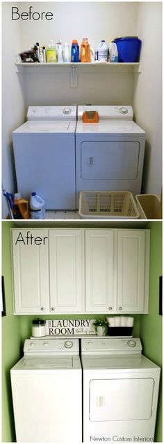 Small Laundry Room Reveal from NewtonCustomInteriors.com  A reveal of our tiny laundry room, and how we renovated it to make it more functional and pretty!