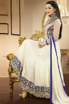 Zohraa.com presenting Off White Faux Georgette #Anarkali #Suit with Embroidered,Patch Work and Lace Work Order Now@ http://zohraa.com/off-white-faux-georgette-suit-kesaria7008.html Rs. 5,199.