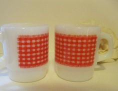 Vintage Fire King Red Gingham Coffee Mugs by Sisters2Vintage