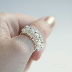 White Swarovski Crystal AB Ring Line Handbeaded by SarahRobinL, $10.00