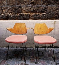 Vintage pink & wood chairs.