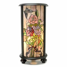 Tiffany Style Allistar Stained Glass Lit Pedestal Lamp