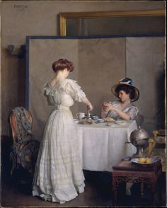 """Tea leaves"" (1909) by William McGregor Paxton (1869-1941), American Impressionist painter."