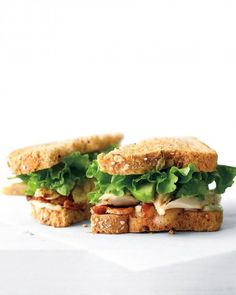 Chicken, Avocado, and Bacon Sandwich.  NOTE: Substitute mayonnaise with Greek yogurt for a healthy alternative.
