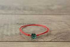 Clover Bracelet. Red String Bracelet. Swarovski Crystal Four Leaf Clover. Celebrity Style. Lucky, Women, Men, Baby Make a Wish Couple Love