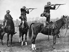 German cavalry. Contrary to popular opinion only a very small proportion of the German army in WW2 was mechanized and the Third Reich fielded several cavalry divisions against the USSR.