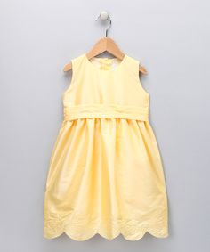 Take a look at this Yellow Scalloped Floral A-Line Dress - Toddler & Girls on zulily today!