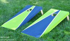 How to Make Cornhole Game How to Paint a Corn Hole Board Backyard Games, Backyard Projects, Wood Projects, Woodworking Projects, Backyard Playground, Weekend Projects, Cornhole Designs, Diy Cornhole Boards, Cornhole Set