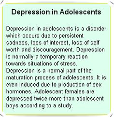 Depression in Adolescents Treatment for depression for adolescent is similar to the treatment of depression for adults. Along with the treatment, the adolescent are given antidepressant medication and psychotherapy.