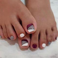 27 Adorable Easy Toe Nail Designs 2020 – Simple Toenail Art Designs : Page 23 of 25 : Creative Vision Design – nageldesign. Fall Toe Nails, Simple Toe Nails, Pretty Toe Nails, Cute Toe Nails, Summer Toe Nails, My Nails, Cute Toes, Pedicure Nail Art, Toe Nail Art