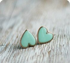 Mint green heart post earrings. <3