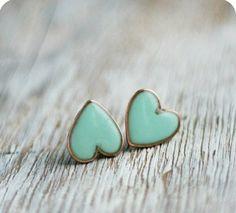 Mint green heart post earrings. <3