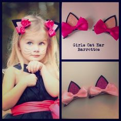 Super Cute Cat Ears 2pc set Hair Barrettes Cat Ear hair clips pink or rose comes with 2pc Accessories Hair Accessories