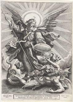 Michaël verslaat de draak, Hieronymus Wierix, 1585