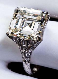 Art Deco 6.12 Carat Square Emerald Cut Diamond Engagement Ring | Emerald Cut Diamonds, Platinum Ring and Emerald Cut
