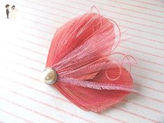 Oh Lucy Handmade DREAM Peacock Feather Hair Clip, Feather Fascinator in Coral and Pink - Bridal hair accessories (*Amazon Partner-Link)