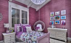 Common Popular Bedroom Accessories: Captivating Bedroom Ideas For Girl Using Purple Bedroom Ideas As Bedroom Accessories Also Hanging Seat Flowery Coverlet Purple Ikea Pillows And Smal Corner Desk With Modern Table Lamps Modern Pendant Lighting ~ surrealcoding.com bedroom Inspiration
