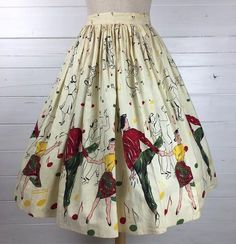 Vintage Jump-N-Jive Dancers Novelty Print Skirt