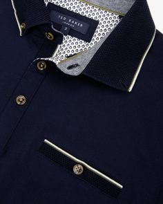 Knitted collar polo shirt - Navy | Tops & T-shirts | Ted Baker UK