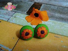 Orange flower earrings. Hand embroidered earrings. Embroidered flower stud earrings. Hand embroidered green earrings. Button earrings. by DeHiloPR on Etsy https://www.etsy.com/listing/507720025/orange-flower-earrings-hand-embroidered