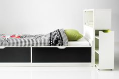 FLAXA bed with storage boxes and headboard with storage compartments | Single $179 | Headboard $99.99
