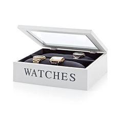 Uhrenbox, mit Samtfutter und Uhrenkissen, MDF, Glas Vorderansicht