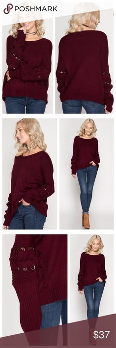 Burgundy Sweater With Grommet Lacing On Sleeves Burgundy Sweater has a round neck and grommet lacing at elbows. EVIEcarche Sweaters