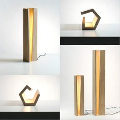 This Elagone lamp made of oak wood with LED light installed inside. Simplie is beautiful