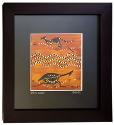 A beautiful hand painted framed indigenous art work from Murra Wolka Creations.