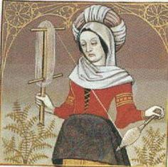 Spinning in Medieval France. Unwinding thread from the drop spindle and making a skein. MS Fr. 599, f. 48, Bibliotheque Nationale, Paris 15th c. France
