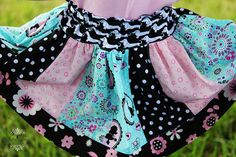 Pink Fig Fifi and Fido Puppy LOVE StripWork Twirly Skirt Girls Sewing Kit sizes 6 mo - 10 years by AllegroFabrics