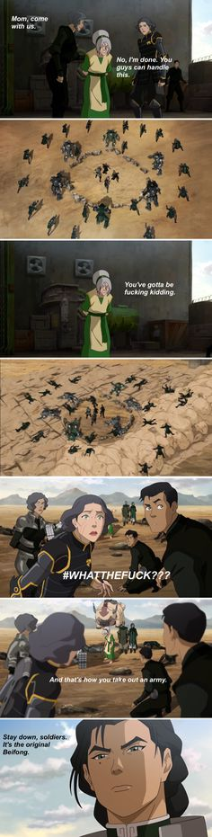 You bet Kuvira :D   ----   Avatar : Legend of Korra , Book 4 : Balance , Epsido 10 : Operation Beifong , ( Toph Beifong, Lin Beifong, Suyin Beifong, Kuvira )