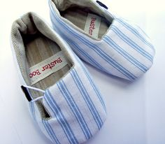 Baby Shoes Fabric Baby Slippers Blue Stripe by BusterBooKids, $28.00