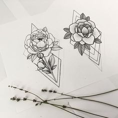 I love the combo of geometric with realistic flowers