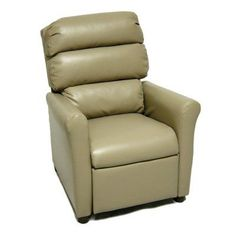Brazil Furniture Waterfall Back Child Recliner - Vinyl Taupe - 1455-VINYL TAUPE