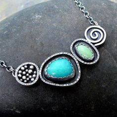 Amazonite and turquoise sterling silver necklace by McComseyDesigns on Etsy