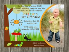 Bug party invitation with photo