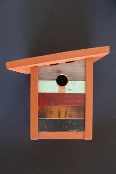 Artistic modern birdhouse handcrafted from reclaimed by Bubirds, $75.00