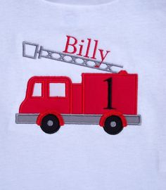 Personalized Firetruck Short Sleeve  Birthday by TheSassySquirrel, $16.99