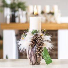 Vánoční svícen na stůl rustikální Květinářství Floresco Vyrobila Šárka Pleskačová